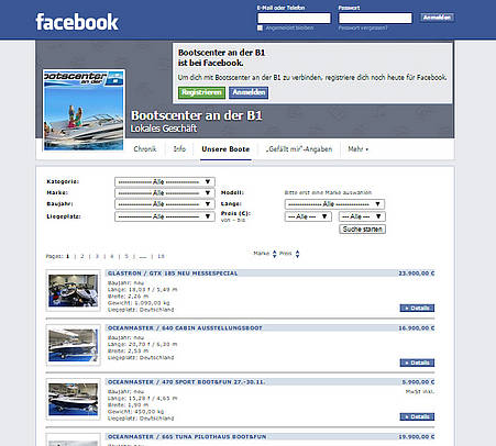Screenshot der Facebook-Händler-App von BEST-boats24.net